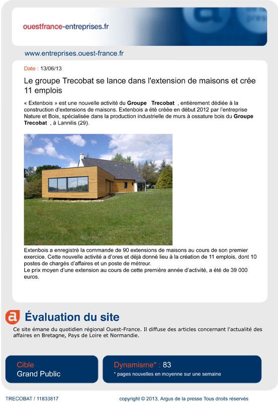 Cheap extenbois lu dans la presse with prix moyen for Prix moyen extension maison