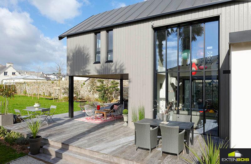 Amenagement salon avec baie vitree toulouse 21 - Extension bois sur maison pierre ...